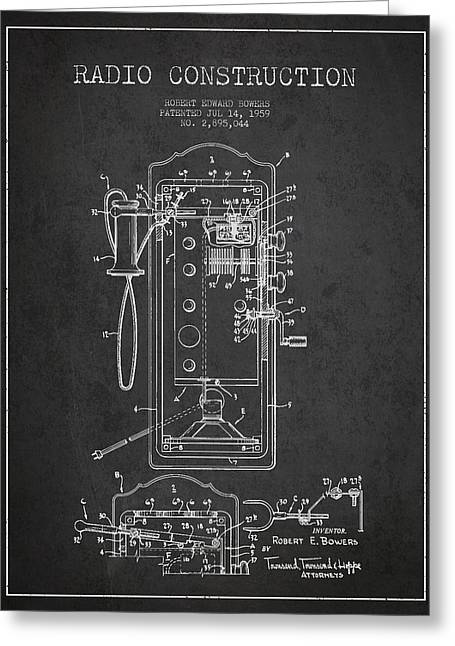 Vintage Radio Greeting Cards - Radio Constuction Patent Drawing From 1959 - Dark Greeting Card by Aged Pixel