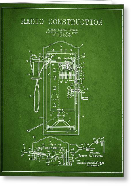 Vintage Radio Greeting Cards - Radio Constuction Patent Drawing From 1959 - Green Greeting Card by Aged Pixel