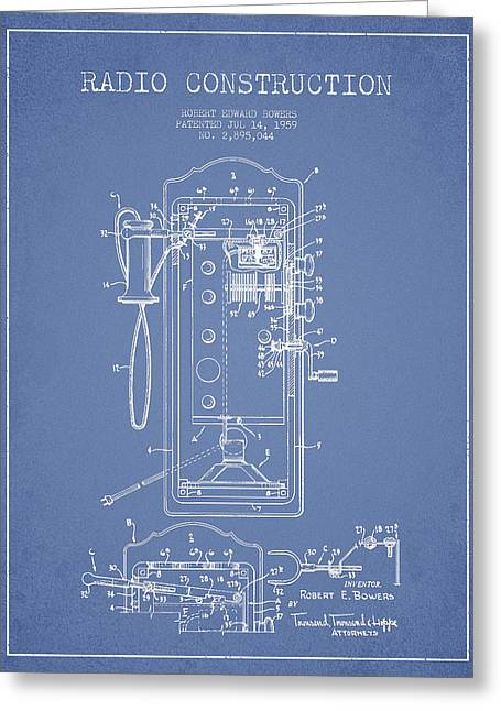 Vintage Radio Greeting Cards - Radio Constuction Patent Drawing From 1959 - Light Blue Greeting Card by Aged Pixel