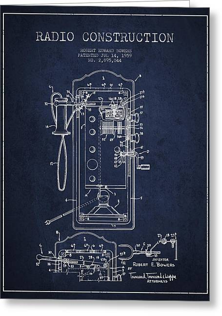 Vintage Radio Greeting Cards - Radio Constuction Patent Drawing From 1959 - Navy Blue Greeting Card by Aged Pixel