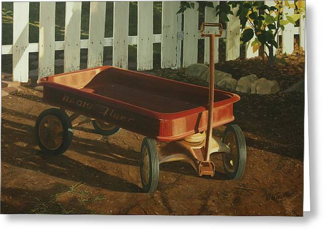 Radio Flyer Afternoon Greeting Card by Nancy Teague