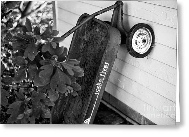 Radio Print Greeting Cards - Radio Flyer mono Greeting Card by John Rizzuto