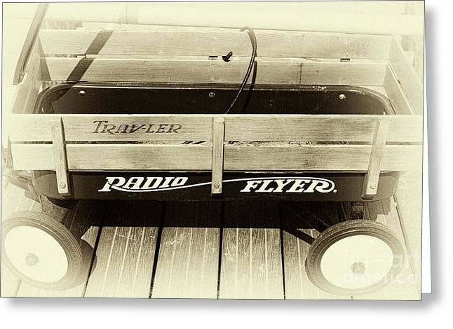 Tone On Tone Greeting Cards - Radio Flyer on the Boardwalk Greeting Card by John Rizzuto