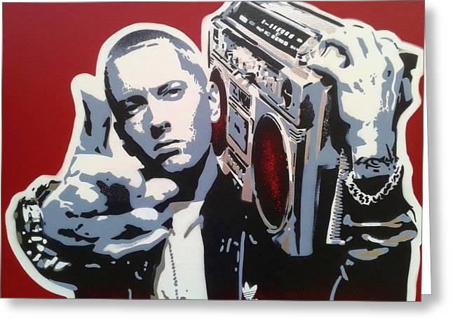 Eminem Paintings Greeting Cards - Radio  Greeting Card by Leon Keay