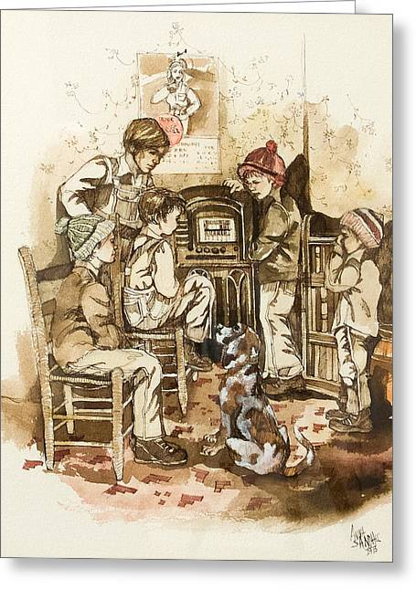 Old Tv Paintings Greeting Cards - Radio Show Greeting Card by Anna Sandhu Ray
