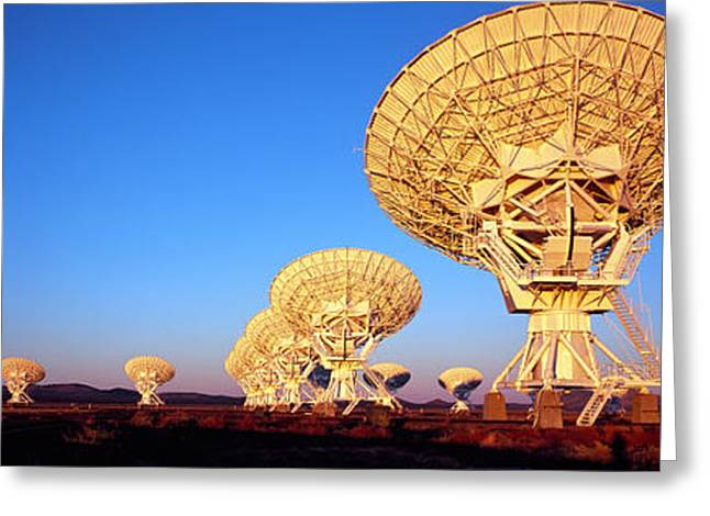 Global Communications Greeting Cards - Radio Telescopes In A Field, Very Large Greeting Card by Panoramic Images