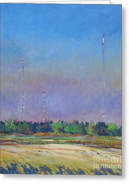 Stockton Paintings Greeting Cards - Radio Towers Greeting Card by Vanessa Hadady BFA MA