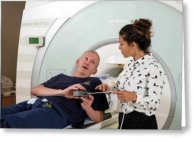 Radiographer Explaining Mri Procedure Greeting Card by John Cairns Photography/oxford University Images