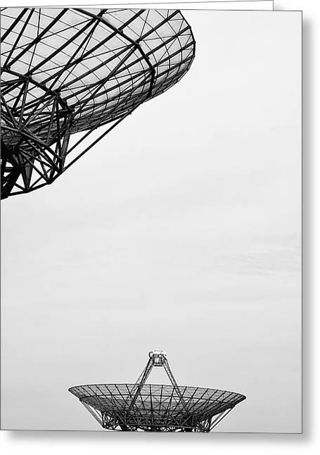 Radar Waves Greeting Cards - Radiotelescope antennas.  Greeting Card by Jan Brons