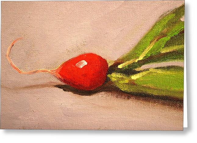 Red Radish Greeting Cards - Radish Resting Greeting Card by Nancy Merkle