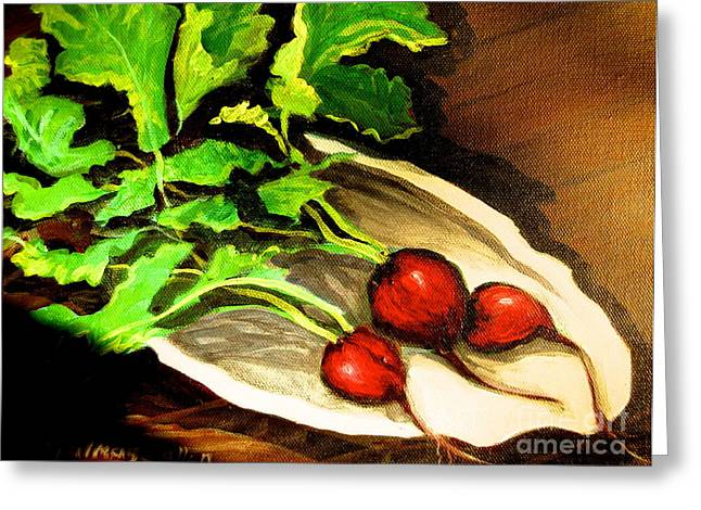 Impressionistic Market Greeting Cards - Radishes 2 Greeting Card by Gretchen Allen
