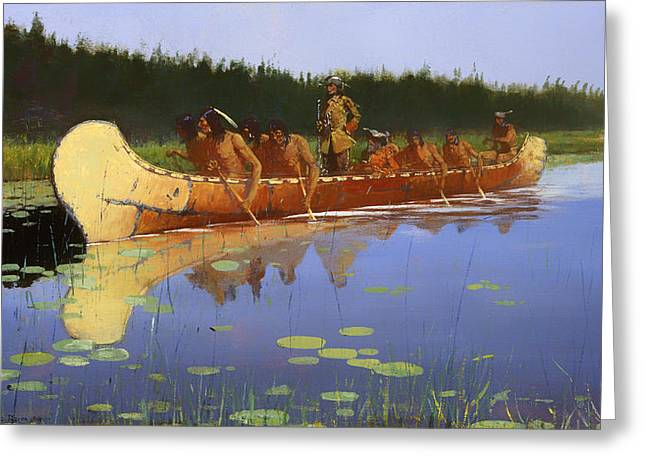 Canoe Paintings Greeting Cards - Radisson and Grosseilliers Greeting Card by Frederic Remington