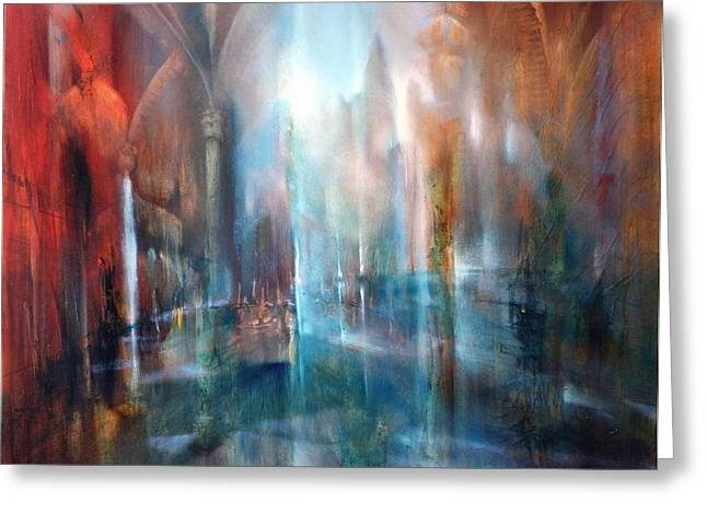 Church Pillars Paintings Greeting Cards - Raeume Greeting Card by Annette Schmucker