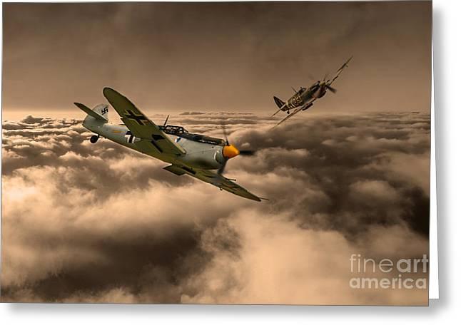 Bouchon Greeting Cards - RAF and Luftwaffe Greeting Card by J Biggadike