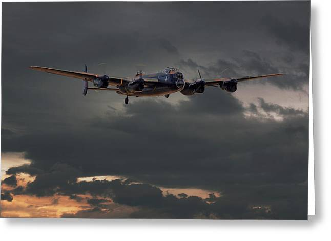 Lancaster Bomber Greeting Cards - RAF Lancaster - Coming Home Greeting Card by Pat Speirs