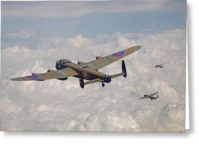 Raf Greeting Cards - RAF Lancaster - Conclusion Greeting Card by Pat Speirs