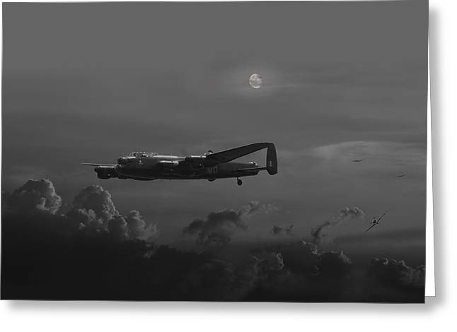 Raf Greeting Cards - RAF Lancaster - Night Combat Greeting Card by Pat Speirs