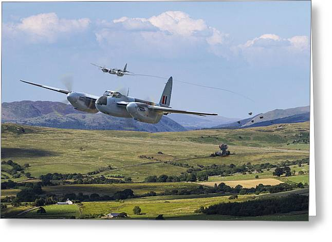 Raf Mosquito - Train Buster Greeting Card by Pat Speirs