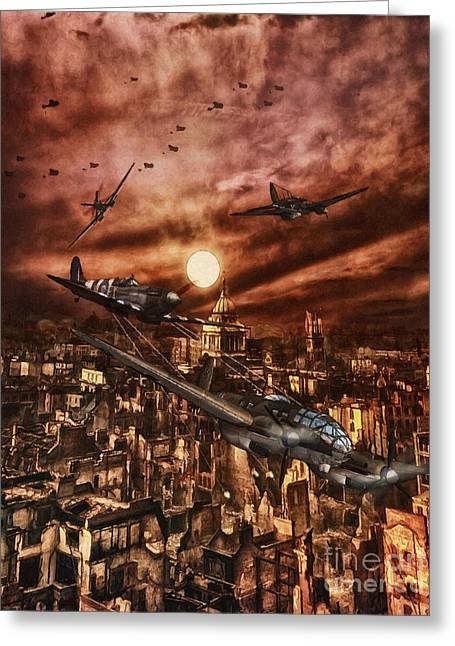 Sot Greeting Cards - RAF Spitfire Chases a German Heinkel Over London Greeting Card by Shawna Mac