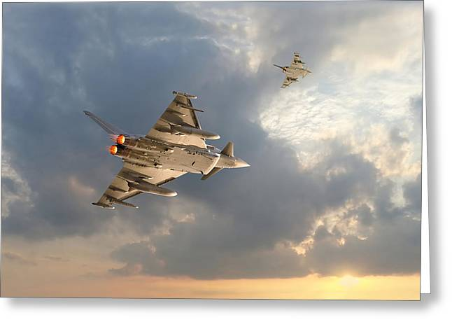 Typhoon Greeting Cards - RAF TYphoon  -  Evensong Greeting Card by Pat Speirs