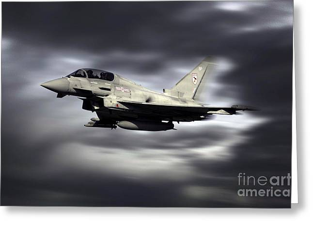 Aviation Display Greeting Cards - RAF Typhoon Pass Greeting Card by J Biggadike