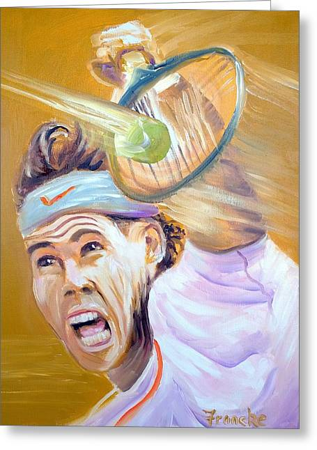 Tennis Player Paintings Greeting Cards - Rafa being Rafa Greeting Card by David Francke