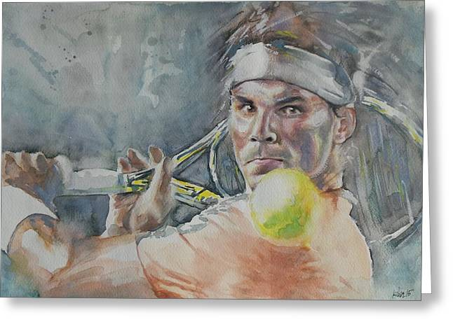 French Open Paintings Greeting Cards - Rafa Nadal - Portrait 2 Greeting Card by Baresh Kebar - Kibar