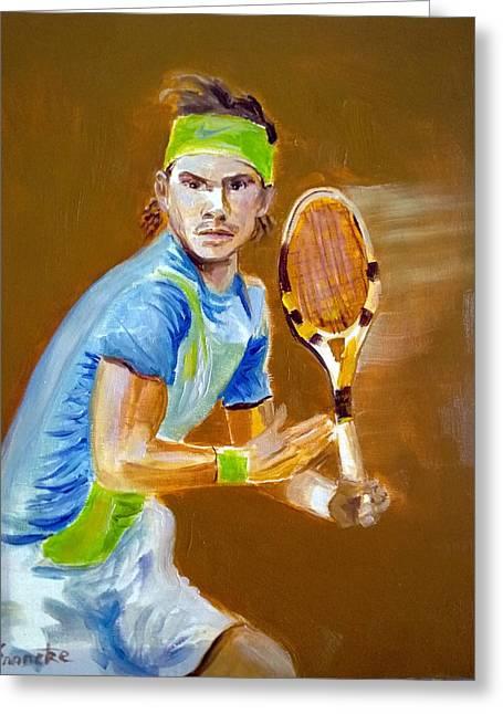 Rafa Nadal Greeting Cards - Rafa Nadal on the Ball Greeting Card by David Francke