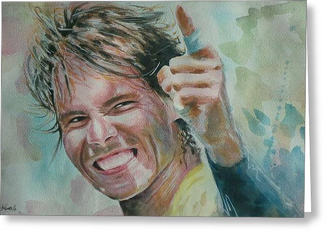 French Open Paintings Greeting Cards - Rafa Nadal - Portrait 3 Greeting Card by Baresh Kebar - Kibar