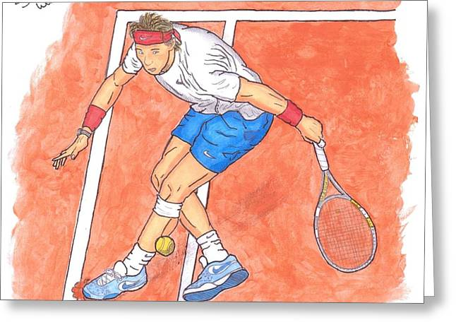 French Open Paintings Greeting Cards - Rafa On Clay Greeting Card by Steven White
