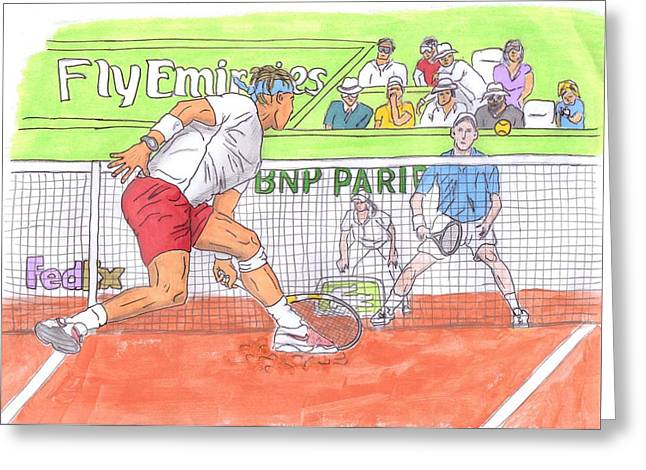 Steven White Greeting Cards - Rafa vs. Novak Greeting Card by Steven White