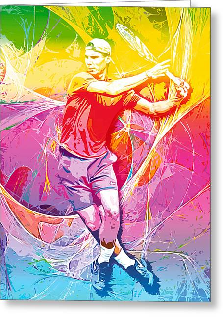 Roland Garos Greeting Cards - Rafael Nadal 01 Greeting Card by RochVanh