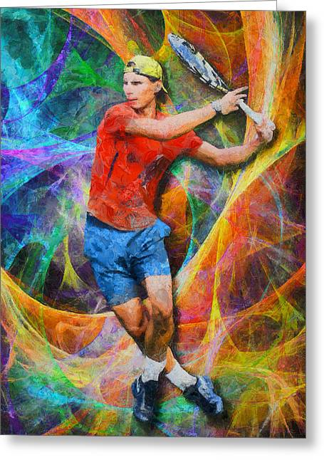Roland Garos Greeting Cards - Rafael Nadal 02 Greeting Card by RochVanh