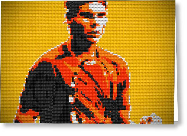 Lego Greeting Cards - Rafael Nadal 2 Lego digital painting Greeting Card by Georgeta Blanaru