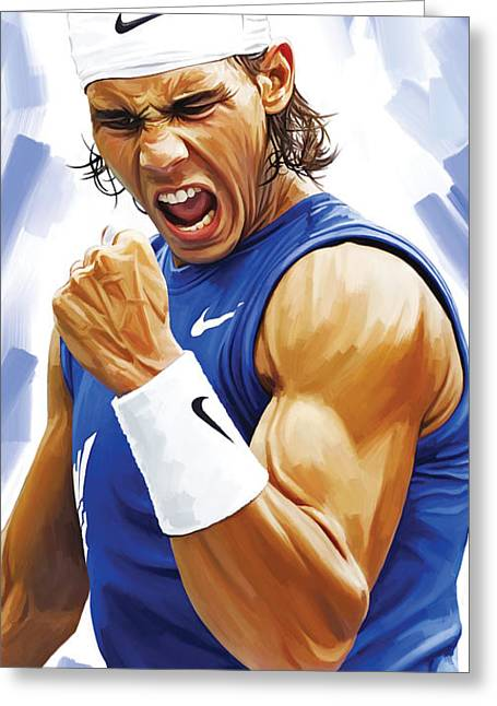 Rafael Nadal Artwork Greeting Card by Sheraz A