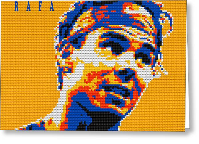 Lego Greeting Cards - Rafael Nadal Lego digital painting Greeting Card by Georgeta Blanaru
