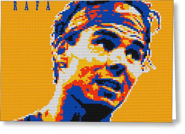 Rafa Nadal Greeting Cards - Rafael Nadal Lego digital painting Greeting Card by Georgeta Blanaru