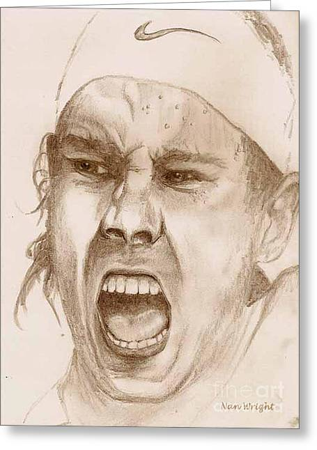 Tennis Player Drawings Greeting Cards - Rafael Nadal Greeting Card by Nan Wright