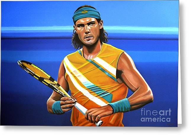 Gravel Greeting Cards - Rafael Nadal Greeting Card by Paul  Meijering