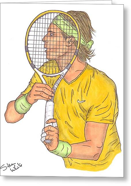 Wimbledon Drawings Greeting Cards - Rafael Nadal Greeting Card by Steven White