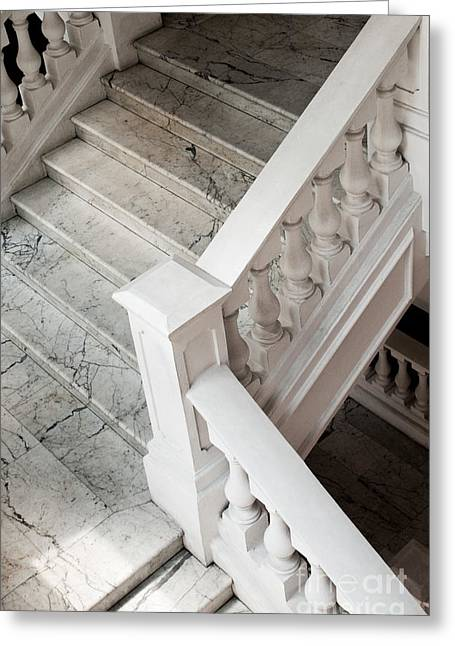 Colonial Building Greeting Cards - Raffles Hotel Marble Staircase Greeting Card by Rick Piper Photography