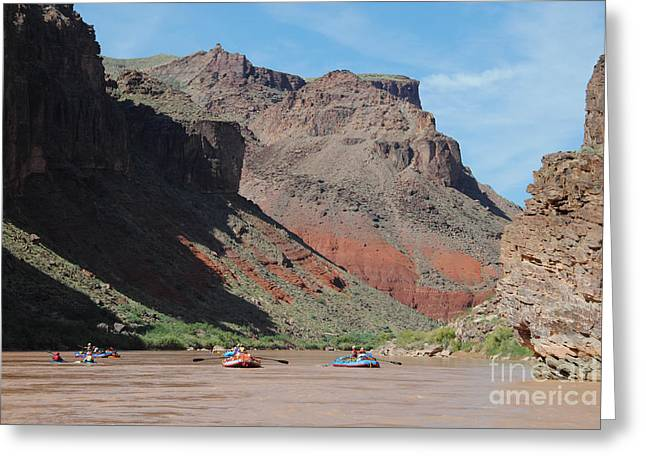 Geology Photographs Greeting Cards - Rafters in the Grand Canyon Greeting Card by Rex Wholster