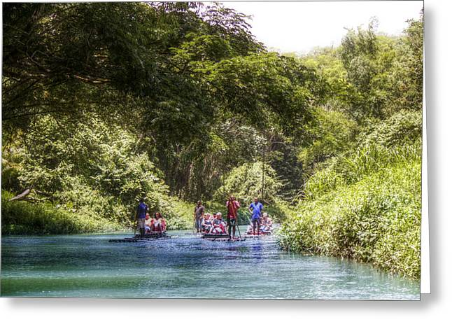 Martha Brae River Greeting Cards - Rafting the Martha Brae Greeting Card by Melanie  Lankford Photography