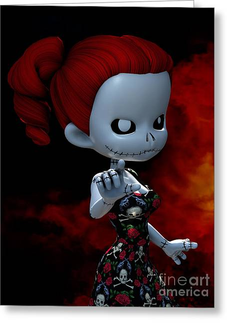 Goth Girl Digital Art Greeting Cards - Rag Doll Attitude Greeting Card by Alexander Butler