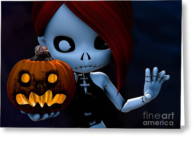 Goth Girl Digital Art Greeting Cards - Rag Doll Halloween Greeting Card by Alexander Butler