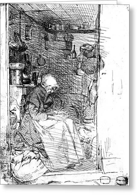 Rag Lady Greeting Cards - Rag Lady 1858 Greeting Card by Padre Art