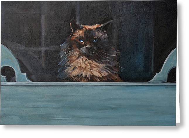 Screen Doors Paintings Greeting Cards - Ragdoll Cat Blue Eyes Inside Greeting Card by Christine Montague