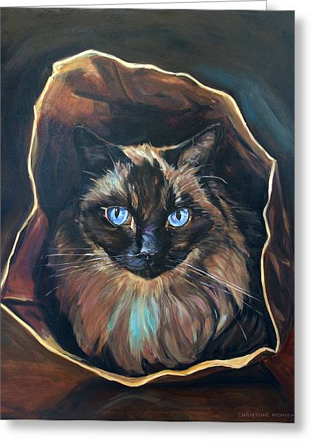 Brown Paper Bag Greeting Cards - Cat Painting. Ragdoll cat The Cats in the Bag Greeting Card by Christine Montague