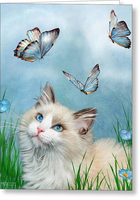 Ragdoll Kitty And Butterflies Greeting Card by Carol Cavalaris