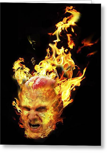 Exploding Head Greeting Cards - Rage, conceptual composite image Greeting Card by Science Photo Library